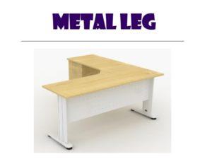 L Shape table - metal leg 1
