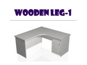 L shape table wooden leg 1