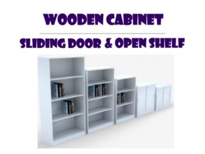 Wooden Office Cabinet  - Sliding Door & Open Shelf